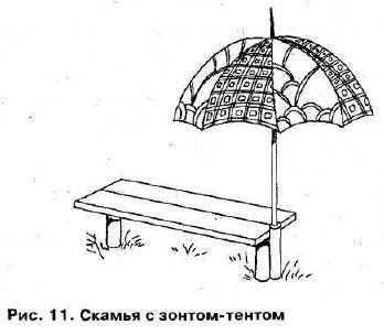 Скамейка с зонтом рисунок